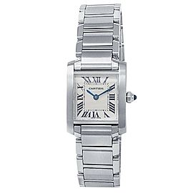 Cartier Tank Francaise Stainless Steel Quartz White Ladies Watch W51008Q3