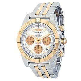 Breitling Chronomat 18k Rose Gold Stainless Steel Auto Silver Men's Watch CB0140