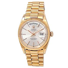 Rolex Day Date 18k Rose Gold President Automatic Silver Men's Watch 1803