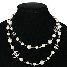 "Chanel - 2019 - 5 CC Charm Pearl Necklace - 41"" Long Crystal Rhinestone White"
