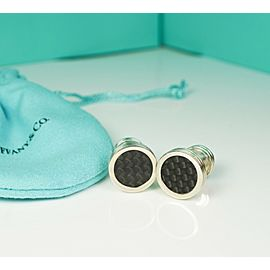 Tiffany & Co. Paloma Picasso Black Carbon Fiber Textured Checkered Cuff Links
