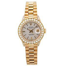 ROLEX LADY-DATEJUST 26MM 69088 WHITE MOTHER OF PEARL DIAL YELLOW GOLD