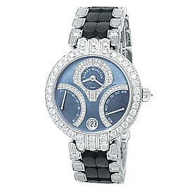 Harry Winston Premier Excenter Retrogrades 18k White Gold Blue Watch 200-UAB134W
