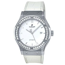 Hublot Classic Fusion Titanium Leather Diamonds White Watch 542.NE.2010.LR.1204