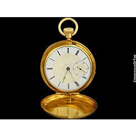 1869 PATEK PHILIPPE Antique Bespoke Midsize 40mm Pocket Watch - 18K Gold
