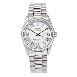 ROLEX DATEJUST PRESIDENT WHITE GOLD 68274 31MM WHITE DIAMOND DIAL PRESIDENT BAND