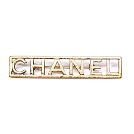 Chanel - Box Logo Brooch Pin - Gold Long Wide Cutout Rectangle 15S 2015
