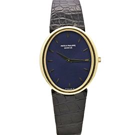 Men's Patek Philippe Ellipse, 27x32mm, 18k Yellow Gold, Blue dial, 3978J-050