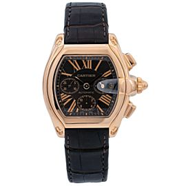 CARTIER ROADSTER ROSE GOLD W62042Y4 43MM BROWN DIAL WITH LEATHER BRACELET
