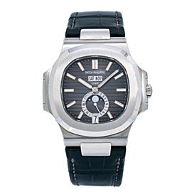 PATEK PHILIPPE NAUTILUS STEEL WATCH 5726A-001 40MM BLACK DIAL WITH LEATHER STRAP