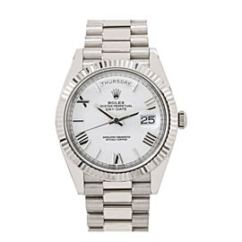 ROLEX DAY-DATE 40 WATCH 228239 40MM WHITE DIAL PRESIDENT WHITE GOLD BRACELET