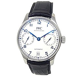 IWC Portugieser Stainless Steel Black Leather Auto Silver Men's Watch