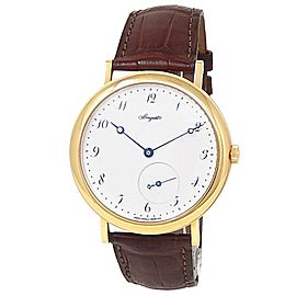 Breguet Classique 18k Yellow Gold Leather Auto White Men's Watch