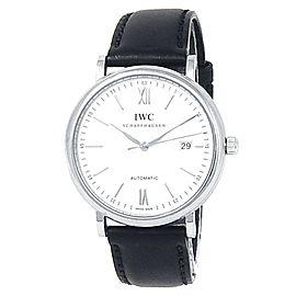 IWC Portofino Stainless Steel Black Leather Auto Silver Men's Watch IW356501