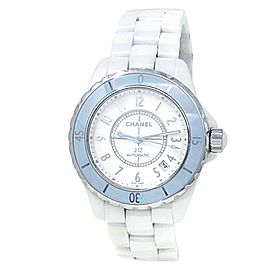 Chanel J12 White Ceramic Soft Blue Automatic White Ladies Watch H4341