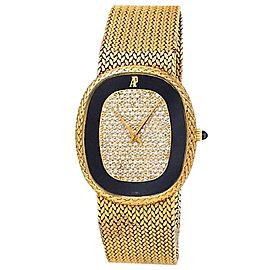Audemars Piguet Ellipse 18k Yellow Gold Auto Black Diamonds Pave Men's Watch