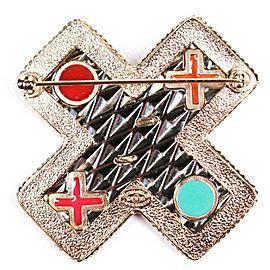 Chanel - Ultra Rare 2017 XO Brooch Pin - Multicolor Jewel CC Metal Cross 17S