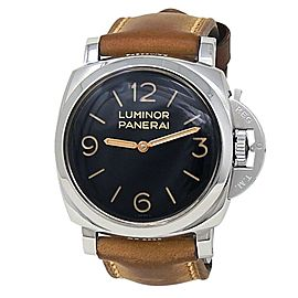 Panerai Luminor Stainless Steel Brown Leather Manual Black Men's Watch