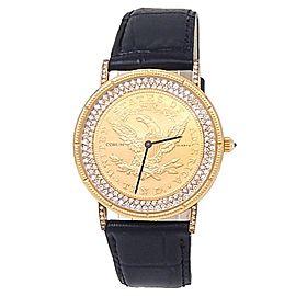 Corum $10 US Gold Coin 18k Yellow Gold Leather Quartz Diamonds Coin Men's Watch