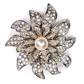 Chanel - 2005 Pearl CC Crystal Flower Pin Brooch - Silver Logo 05A