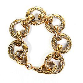 """Chanel - Vintage Bracelet - Rhinestone Crystal Gold Hoop Chain - 8.5"""""""