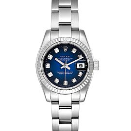 Rolex Datejust Steel White Gold Blue Vignette Diamond Dial Ladies Watch 179174