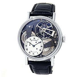 Breguet Tradition Tourbillon Platinum Leather Manual Silver Watch 7047PT/11/9ZU