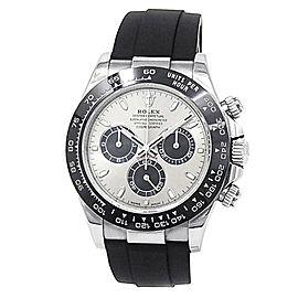 Rolex Daytona 18k White Gold Black Rubber Automatic Silver Men's Watch 116519LN