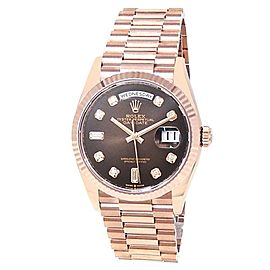 Rolex Day-Date 18k Rose Gold President Auto Diamonds Brown Men's Watch 128235