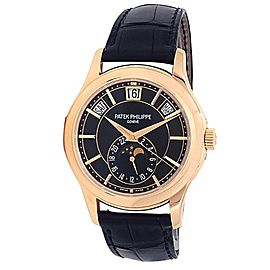 Patek Philippe Complications Annual Calendar 18k Rose Gold Black Watch 5205R-010