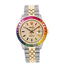 ROLEX DATEJUST 36MM WATCH 16013 STEEL AND YELLOW GOLD RAINBOW BEZEL JUBILEE BAND