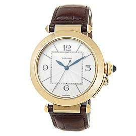 Cartier Pasha 18k Yellow Gold Brown Leather Auto Silver Men's Watch W3018651