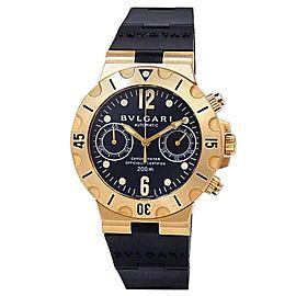 Bvlgari Diagono Scuba 18k Yellow Gold Rubber Automatic Black Men's Watch SC 38 G