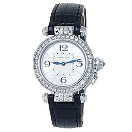 Cartier Pasha 18k White Gold Leather Automatic Diamonds Silver Ladies Watch 2813