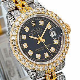 Rolex DateJust 6516 26MM Black Diamond Dial With 6.25 CT Diamonds