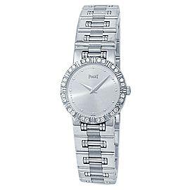 Piaget Dancer 18k White Gold Quartz Diamonds Silver Ladies Watch 80564 K 81