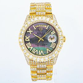 ROLEX DAY DATE 36MM PRESIDENT WATCH 36MM 1803 YELLOW GOLD ICED OUT MOP DIAL