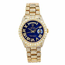 ROLEX DAY DATE PRESIDENT 36MM WATCH 18038 YELLOW GOLD FULLY ICED OUT BLUE DIAL