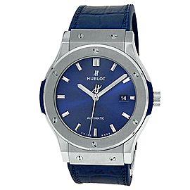 Hublot Classic Fusion Titanium Leather Auto Blue Men's Watch 542.NX.7170.LR