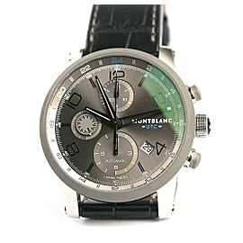 MONTBLANC TIMEWALKER STEEL 43mm AUTOMATIC CHRONOVOYAGER UTC WATCH 107339 USED