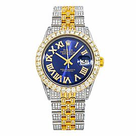 ROLEX DATEJUST 36MM WATCH 1603 STEEL AND YELLOW GOLD JUBILEE BRACELET ICED OUT