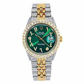 ROLEX DATEJUST 36MM WATCH 1601 TWO TONE YELLOW GOLD JUBILEE BRACELET DIAMONDS