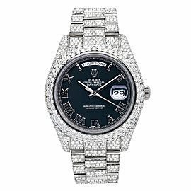 ROLEX DAY DATE II WATCH 41MM 218239 WHITE GOLD PRESIDENT ALL ICED OUT BLACK DIAL
