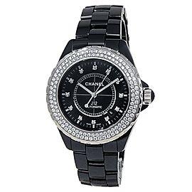Chanel J12 Black Ceramic Automatic Diamonds Black Ladies Watch H2014