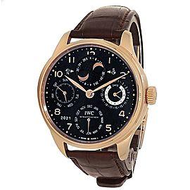 IWC Portuguese Perpetual Calendar 18k Rose Gold Auto Black Men's Watch IW503202