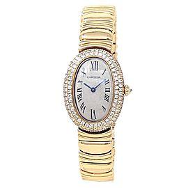 Cartier Baignoire 18k Yellow Gold Quartz Diamonds Silver Ladies Watch 1950 1