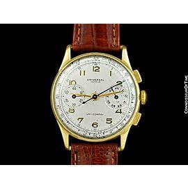 1940's UNIVERSAL GENEVE Vintage Mens Uni-Compax Chronograph Watch - 18K Gold