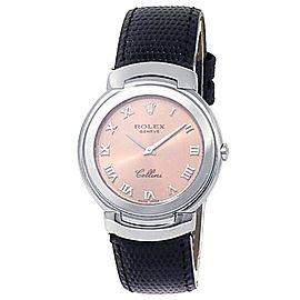 Rolex Cellini 18k White Gold Black Leather Quartz Pink Ladies Watch 6622