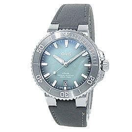 Oris Aquis Date Stainless Steel Leather Auto Green Men's Watch 01 733 7732 4137