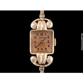 1938 ROLEX Vintage Art Deco Ladies Dress Watch with Bracelet - 14K Rose Gold